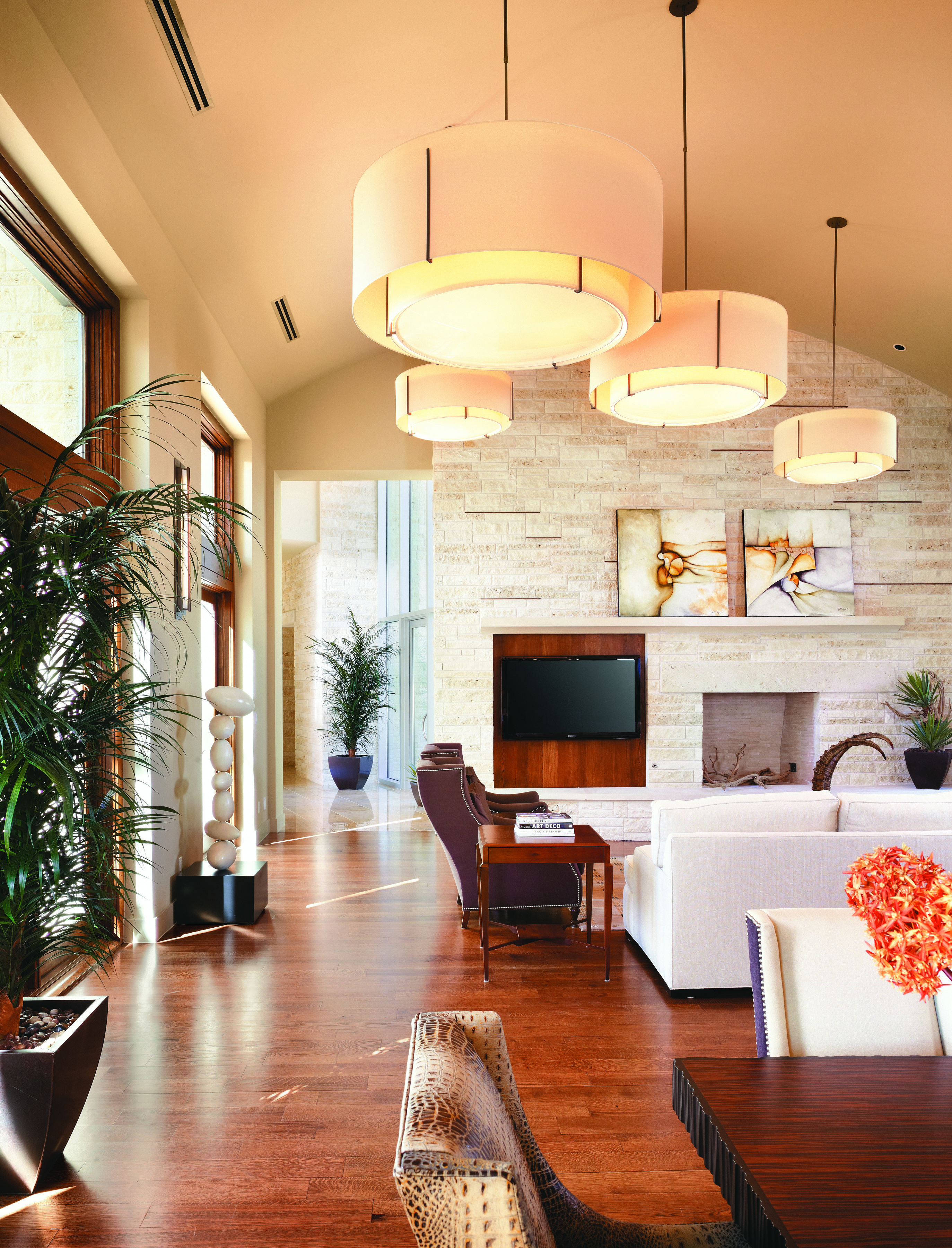 Add To An Abundance Of Natural Light With Warm Toned Drum Pend