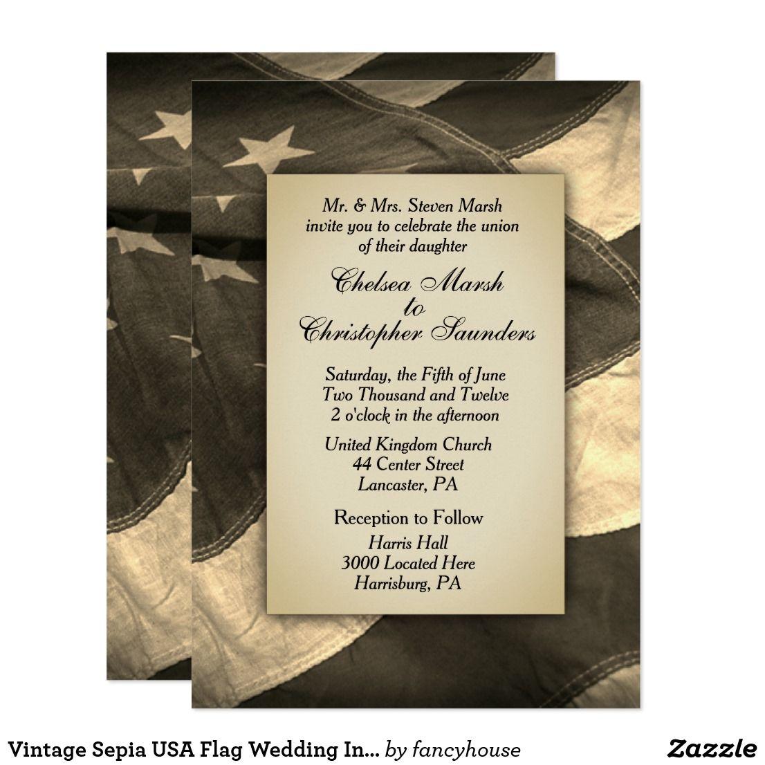 Vintage Sepia USA Flag Wedding Invitation | Usa flag and Weddings