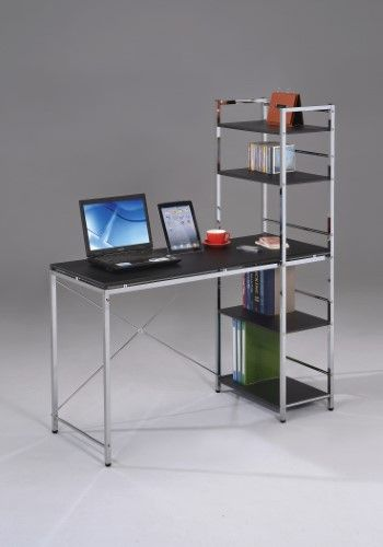 computer desk with shelves black chrome grey wood pvc steel rh pinterest com