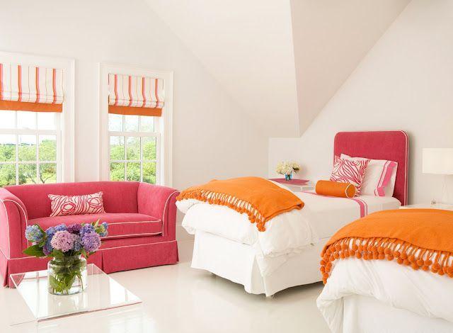 cool pink orange bedroom ideas | Girls room, love the pink & orange color combination ...