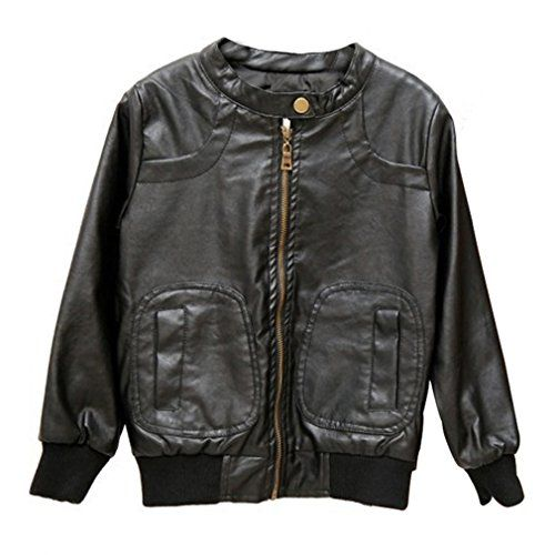 Mingao Boys Pu Leather Jacket Round Collar Long Sleeve Black 67 Years You Can Get More Details By Clickin Leather Jacket Baby Boy Jackets Pu Leather Jacket