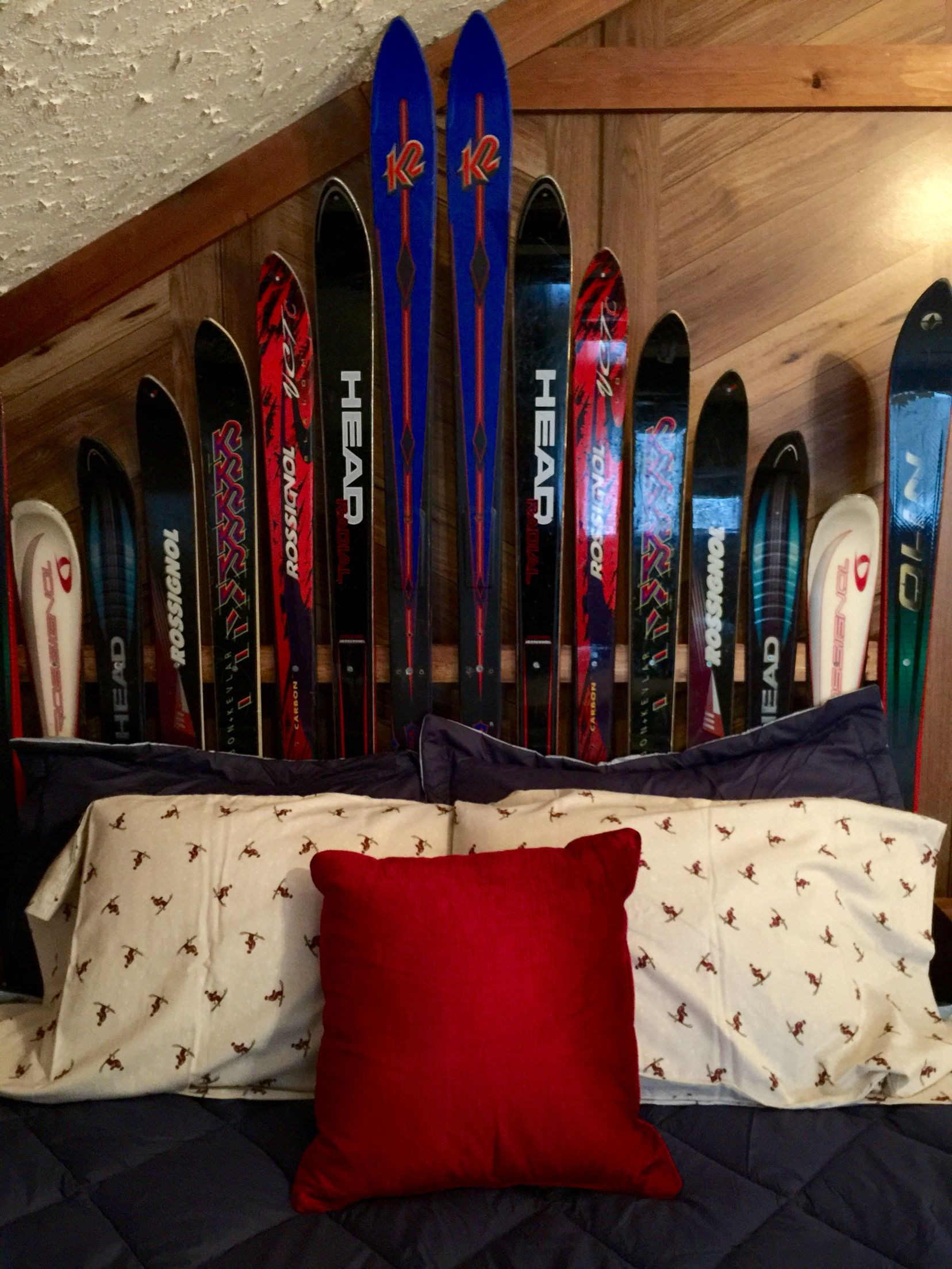 Headboard we made from our family's old skis Custom