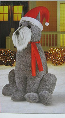 6 Ft H Inflatable Outdoor Christmas Furry Schnauzer Dog