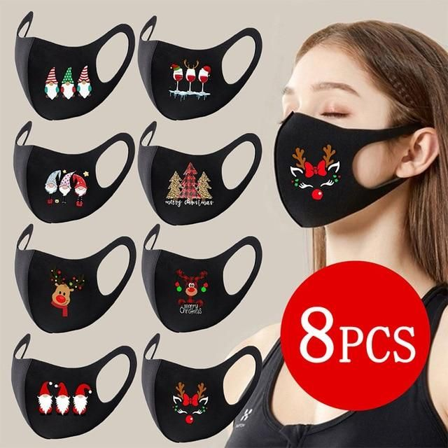 8 PCS Christmas Decoration Party Mask For Adult Un