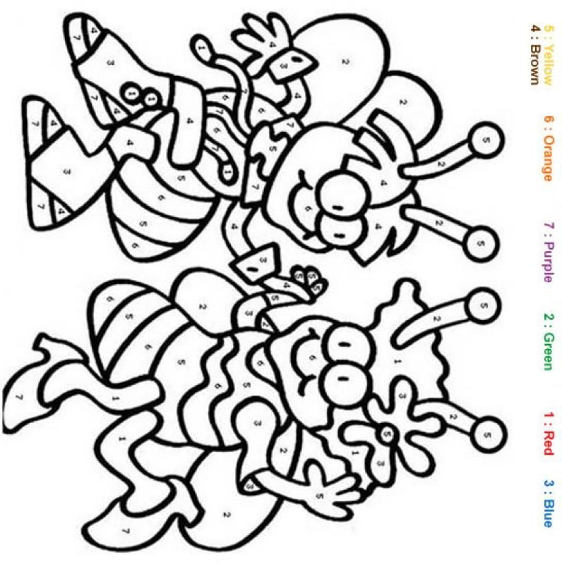 Bees Color by number coloring page | Kleurplaten ..How to ...