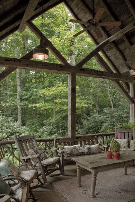 Rustic home designs log home designs timber framed for Log cabin porches and decks