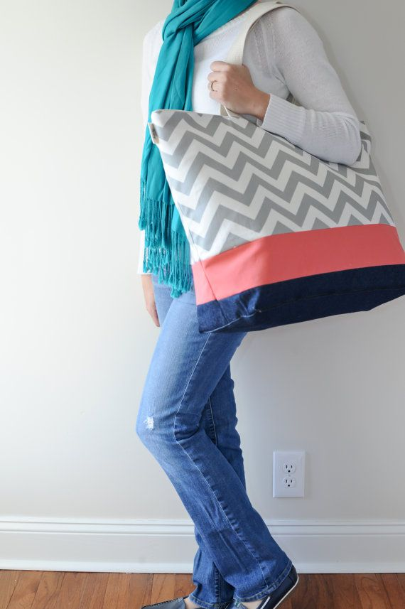 EXTRA Large Beach Bag // Tote in Gray Chevron and Coral Stripe ...