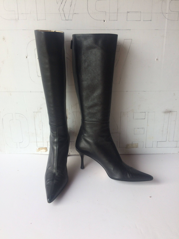 633068d3751 sz 9 b vintage GUCCI black tumbled leather boots