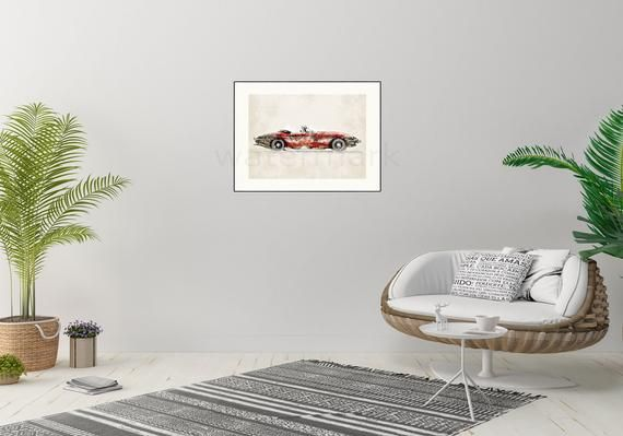 Jaguar E Type Car Print, Wall art, Giclée, signed, illustration, poster, Classic car, etype, e-type, Father, Dad, Father's day