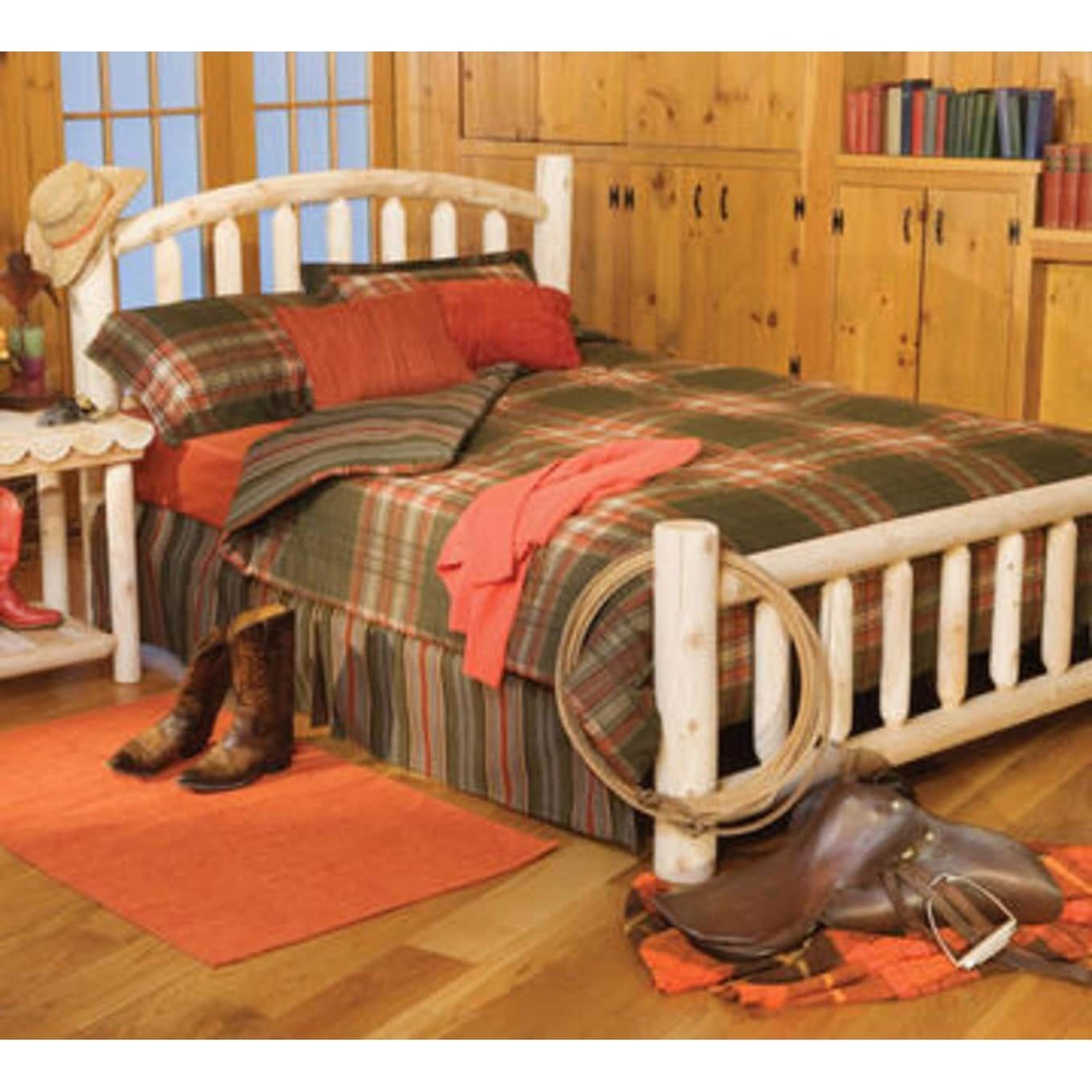 82 Handcrafted Cedar Log Style Arched Wooden King Bed Frame, Brown ...