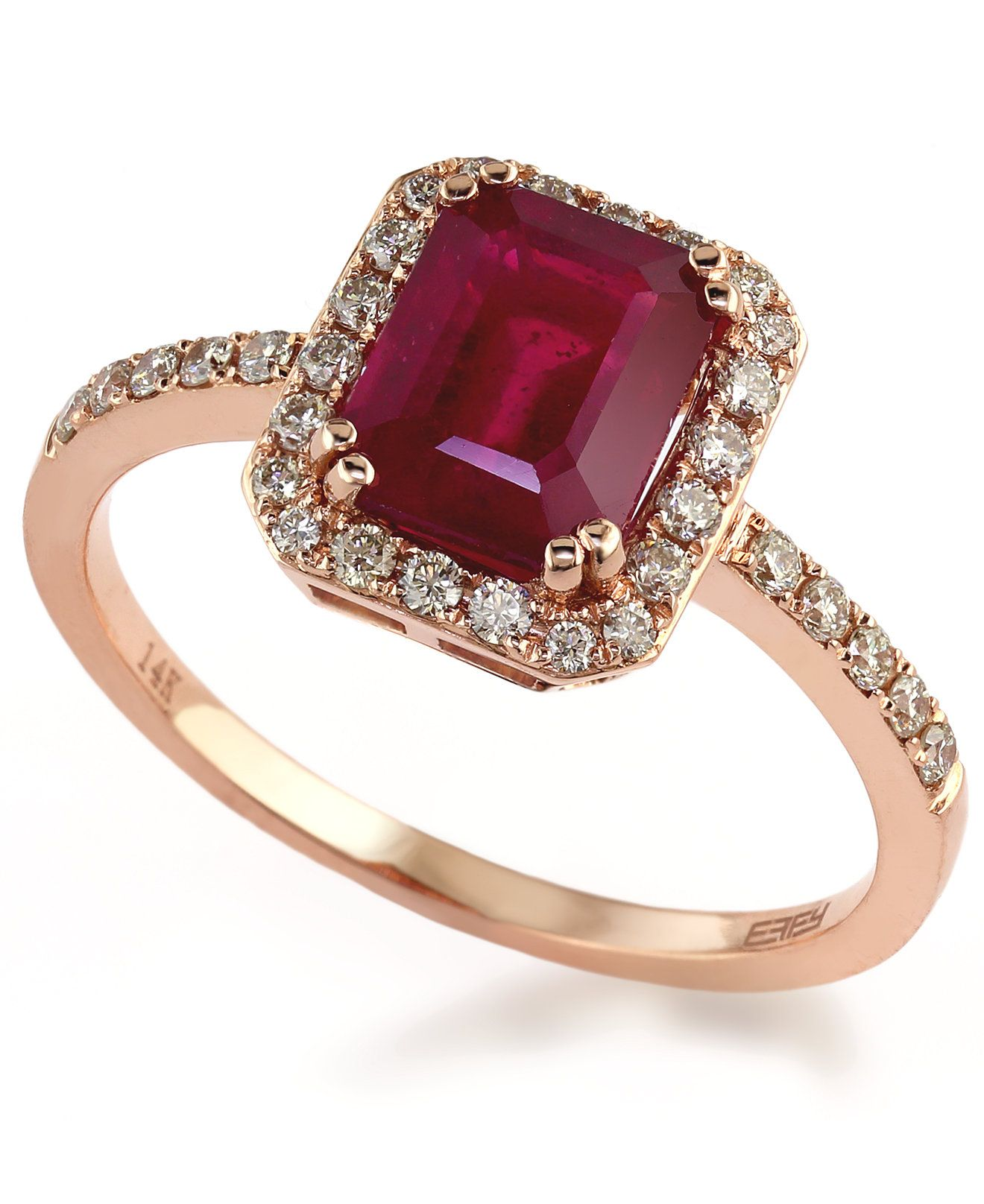 5e91e104e Rosa by EFFY Ruby (1-1/2 ct. t.w.) and Diamond (1/4 ct. t.w.) Ring in 14k  Rose Gold - Rings - Jewelry & Watches - Macy's