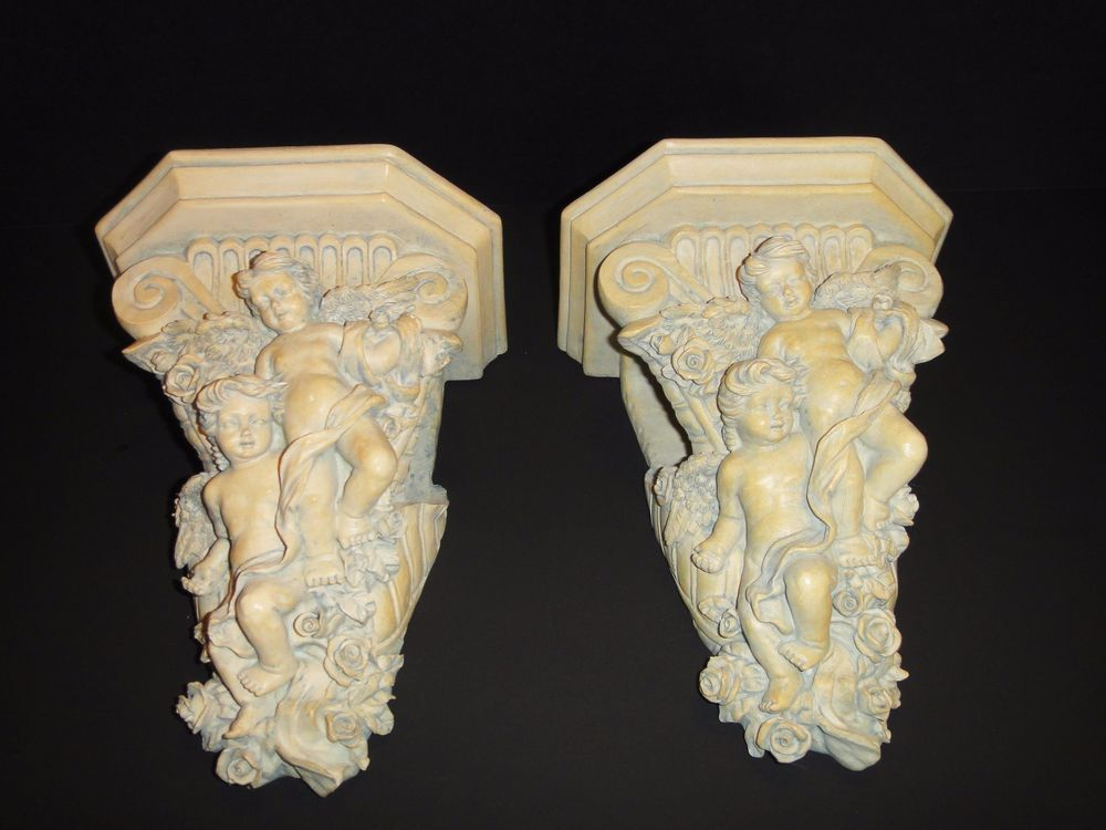 Pair Of Angel Cherubs Wall Sconce Curtain Rod Holder Swag Roses