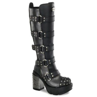 3 1/2 Inch Chunky Heel Women's Platform Boots With Buckles Studded ...