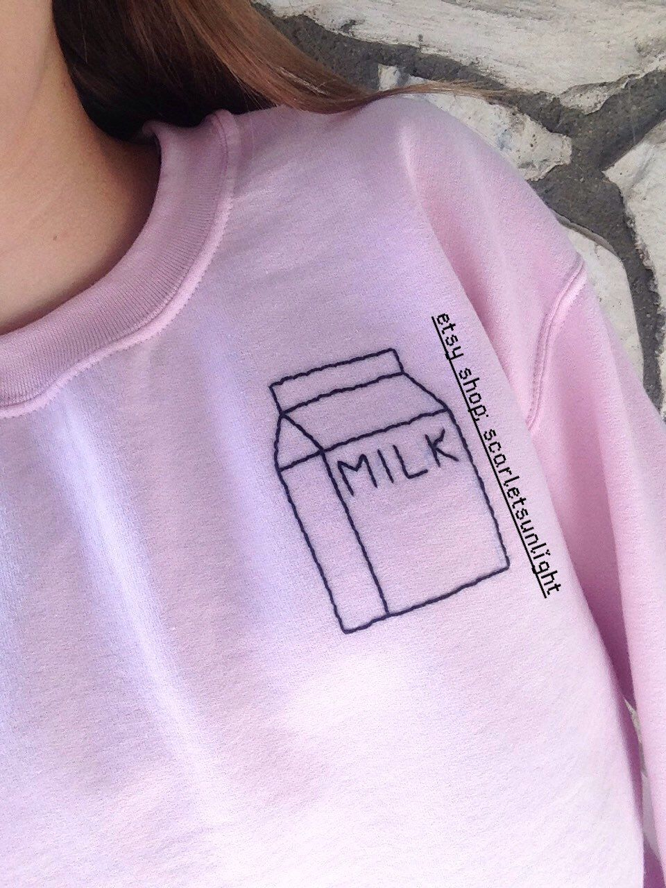 MILK CARTON Tumblr Aesthetic Embroidered Pink OR Blue Crewneck ...