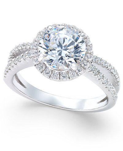 079116c5c Arabella Swarovski Zirconia Rounded Split Shank Ring in Sterling Silver,  Only at Macy's