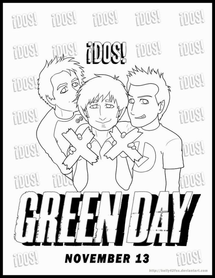 Green Day Coloring Pages Coloring Pages Green Day Color