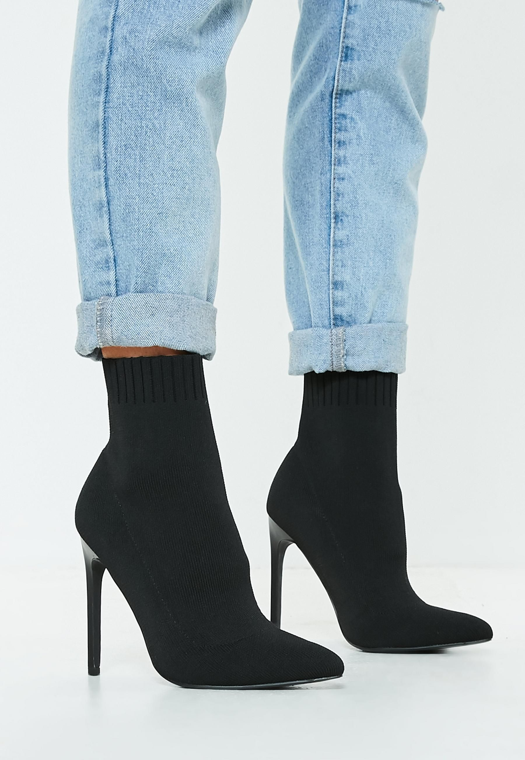 01b9f1b9cdc Missguided - Black Knitted Pointed Toe Sock Ankle Boots