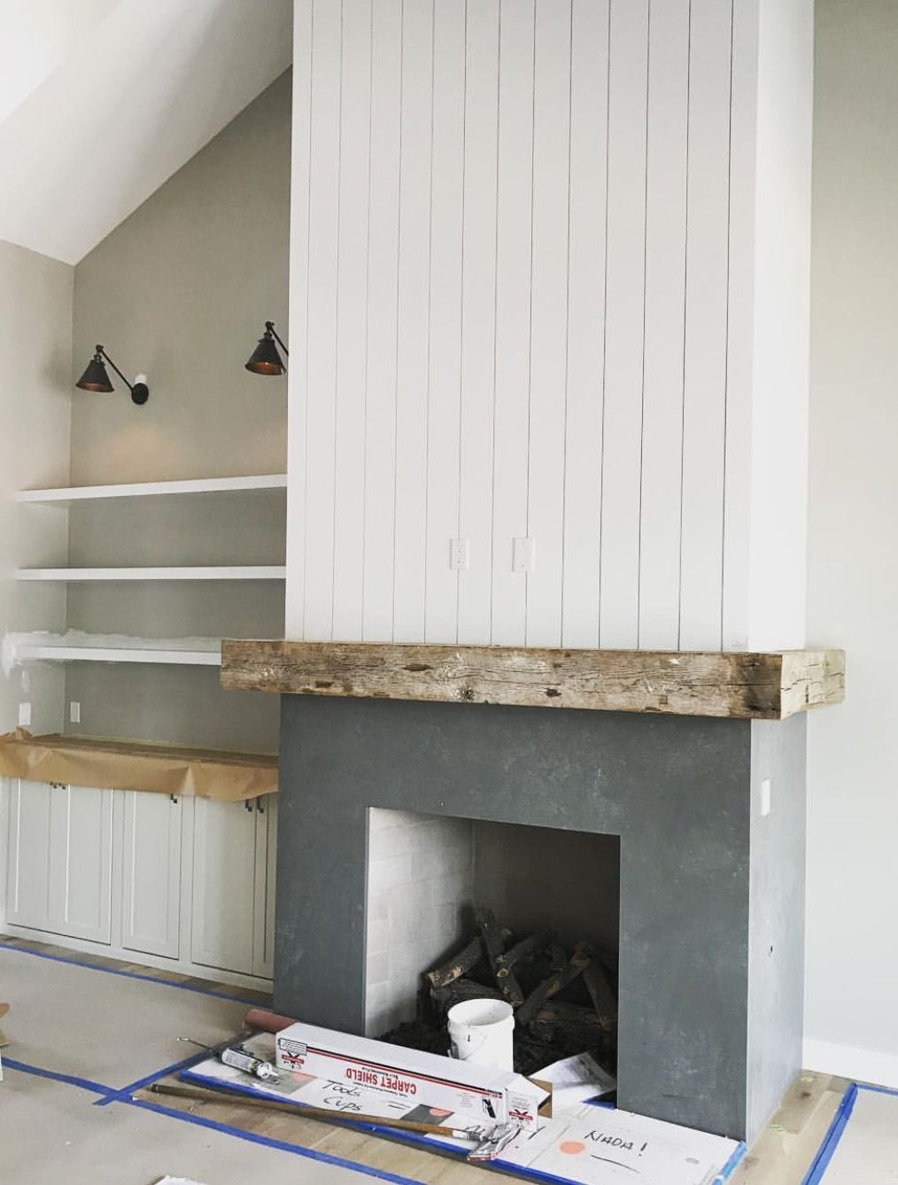 Shiplap Running Horizontally Instead And Deciding Between Concrete And Brick Home Fireplace Home Fireplace Makeover