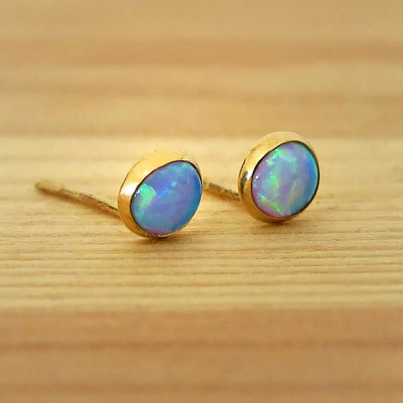 74ef9241d43e6 Opal Studs, 14K Gold Blue Opal Earrings, Gold Stud Earrings, 14K ...