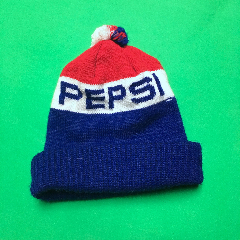 Vintage Pepsi Toque - Vintage Winter Hat - Pepsi Beanie - 80s Pepsi ... e03bdd72c24