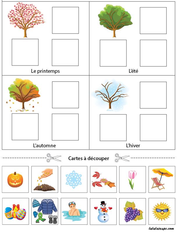 Exercice ludique à imprimer, les saisons | Jeux éducatifs ...