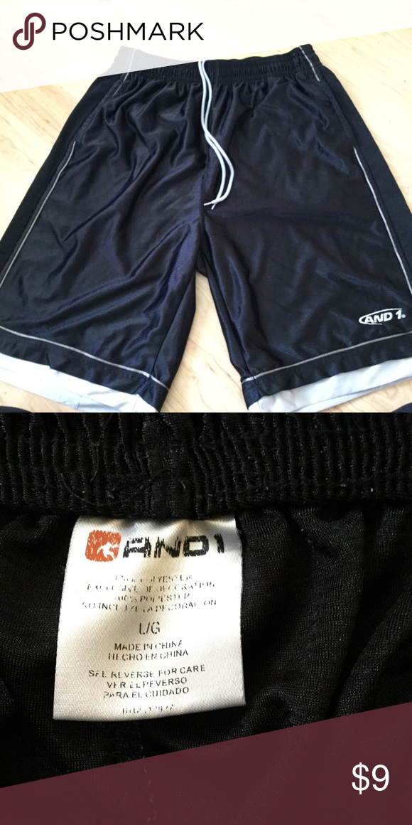 d9b1d853e63bbc Men s And1 Basketball Shorts Gently used Men s And1 basketball shorts. Black  with white accents. Size large. REDUCED 6 12 17 And1 Shorts Athletic