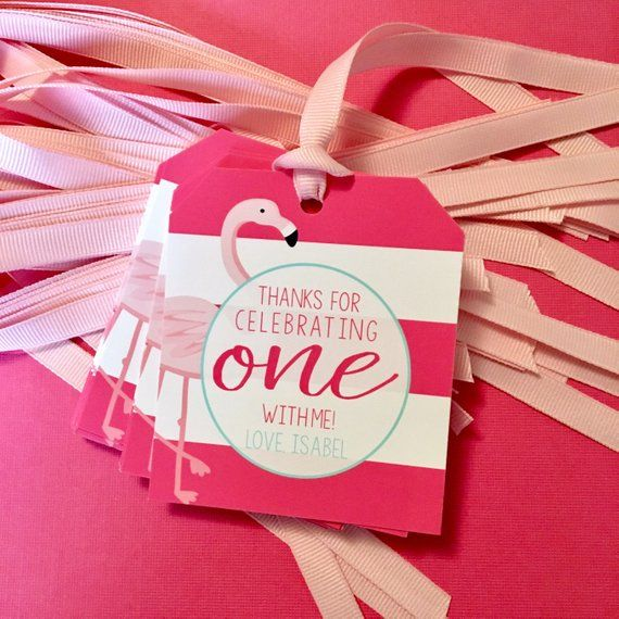 Flamingo First Birthday Thank You Tags