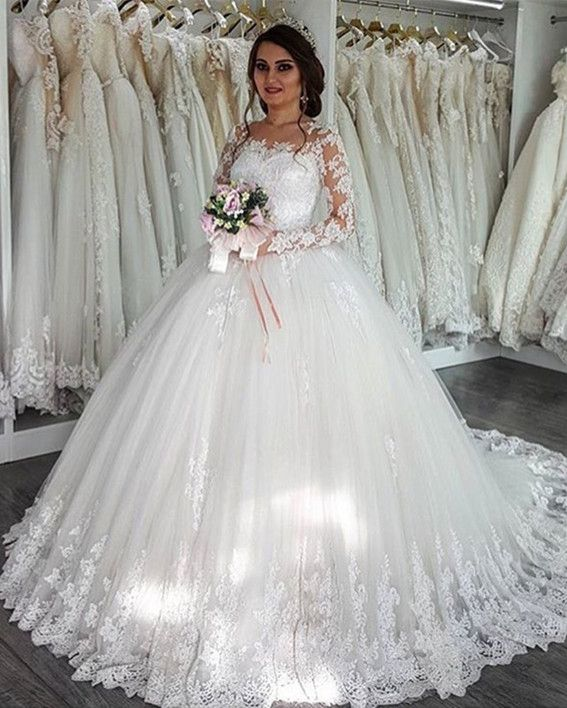 Vintage Boat Neckline Long Sleeves Lace Wedding Dresses Ball Gowns ...