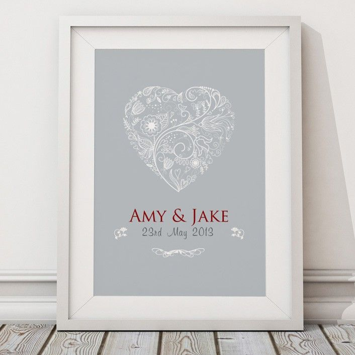 Personalised Wedding Heart Gift Word Typography Art By Artylicious