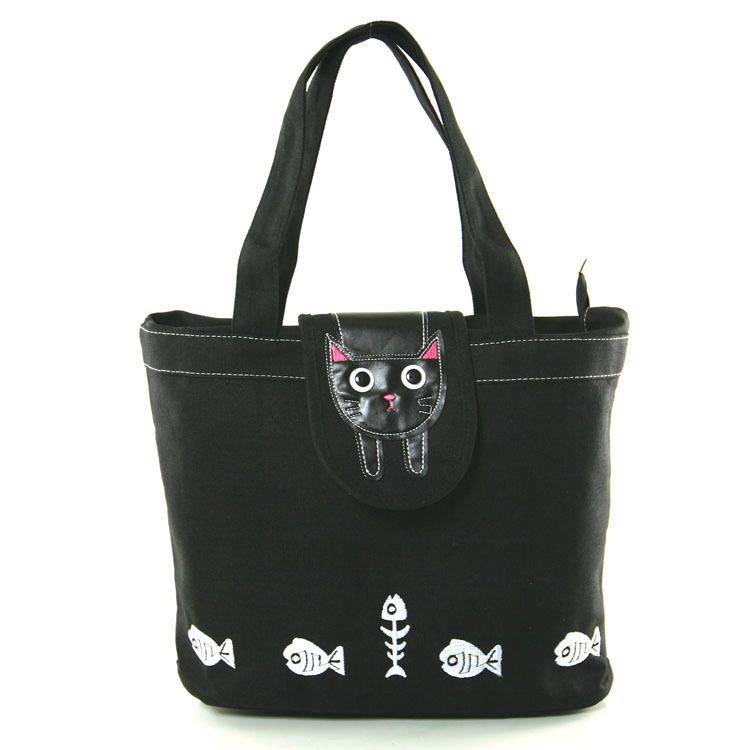 Kitty Cat Black Canvas Tote Bag #SleepyvilleCritters #TotesShoppers