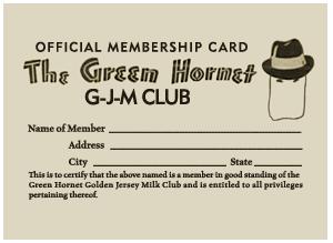 Golden Jersey Milk Green Hornet Club Membership Card Circa