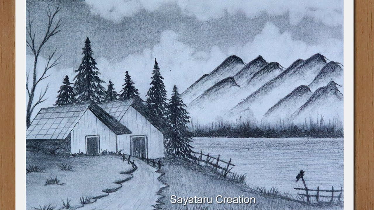Beautiful Village Scenery Drawing With Pencil Step By Step Pencil Drawi Landscape Drawings Nature Sketches Pencil Nature Art Drawings Shop for village art from the world's greatest living artists. beautiful village scenery drawing with