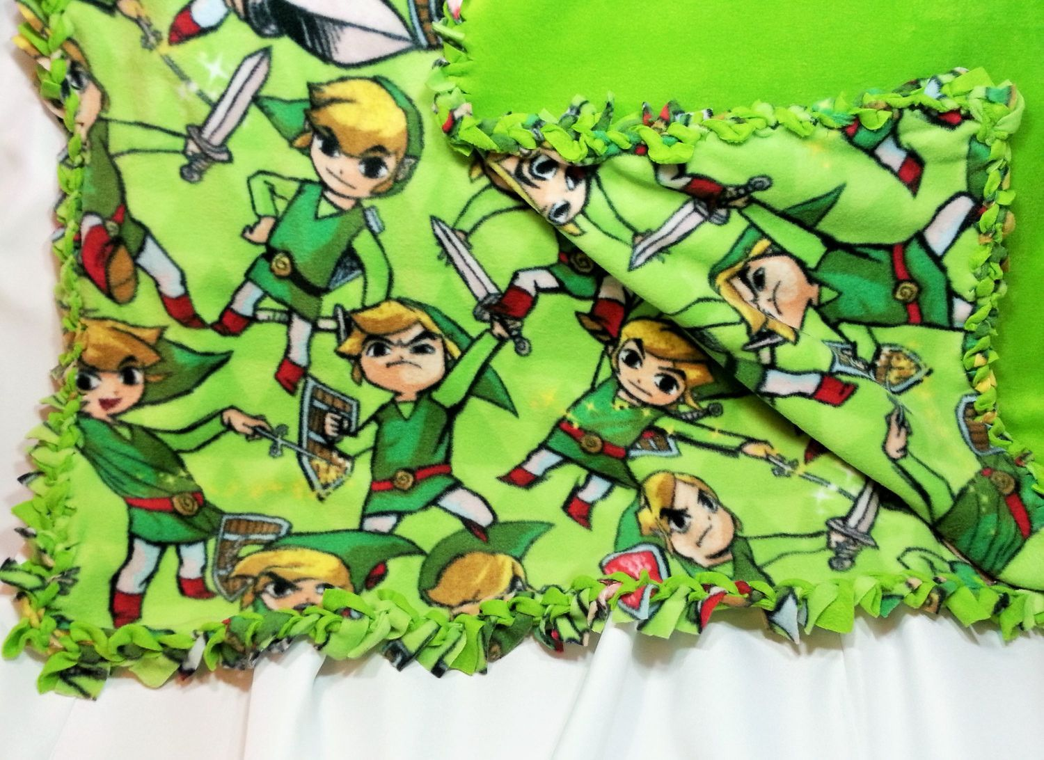 Zelda wind waker fabric made into a fluffy blanket