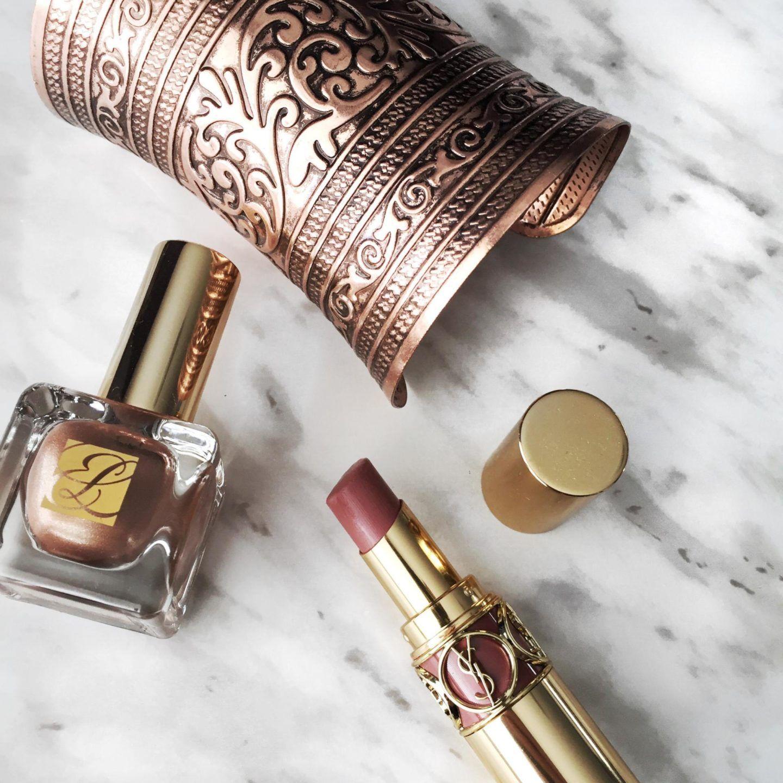 Instagram flatlay fashion, Estee Lauder, YSL, makeup, nail polish ...