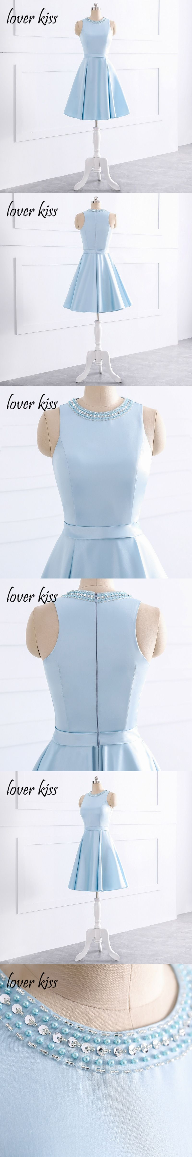 Lover kiss robe rouge courte simple satin beaded pearls junior short