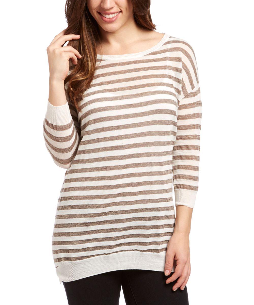 White & Gray Stripe Linen-Blend Sweater