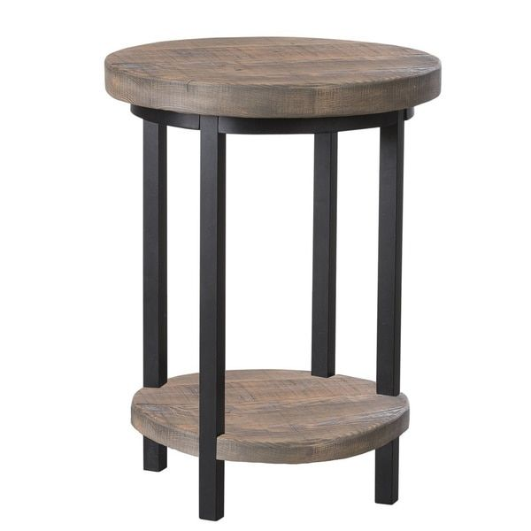 Alaterre Pomona Metal and Reclaimed Wood Round End Table