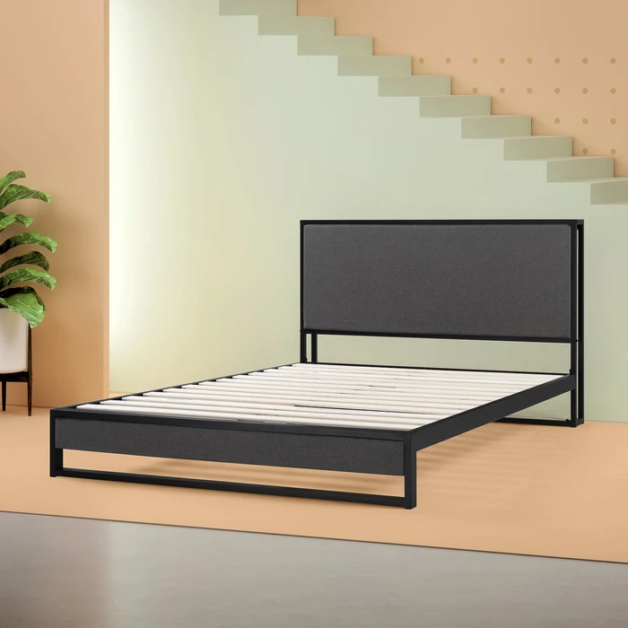 Christina Upholstered Platform Bed Frame With Headboard Shelf In