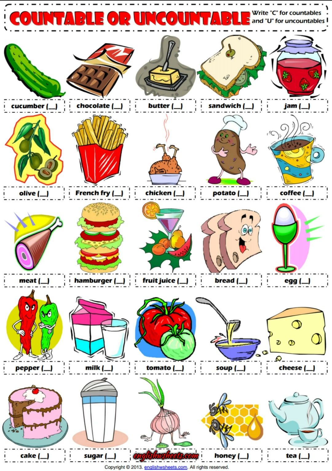 Countable Or Uncountable Nouns Esl Exercises Worksheet