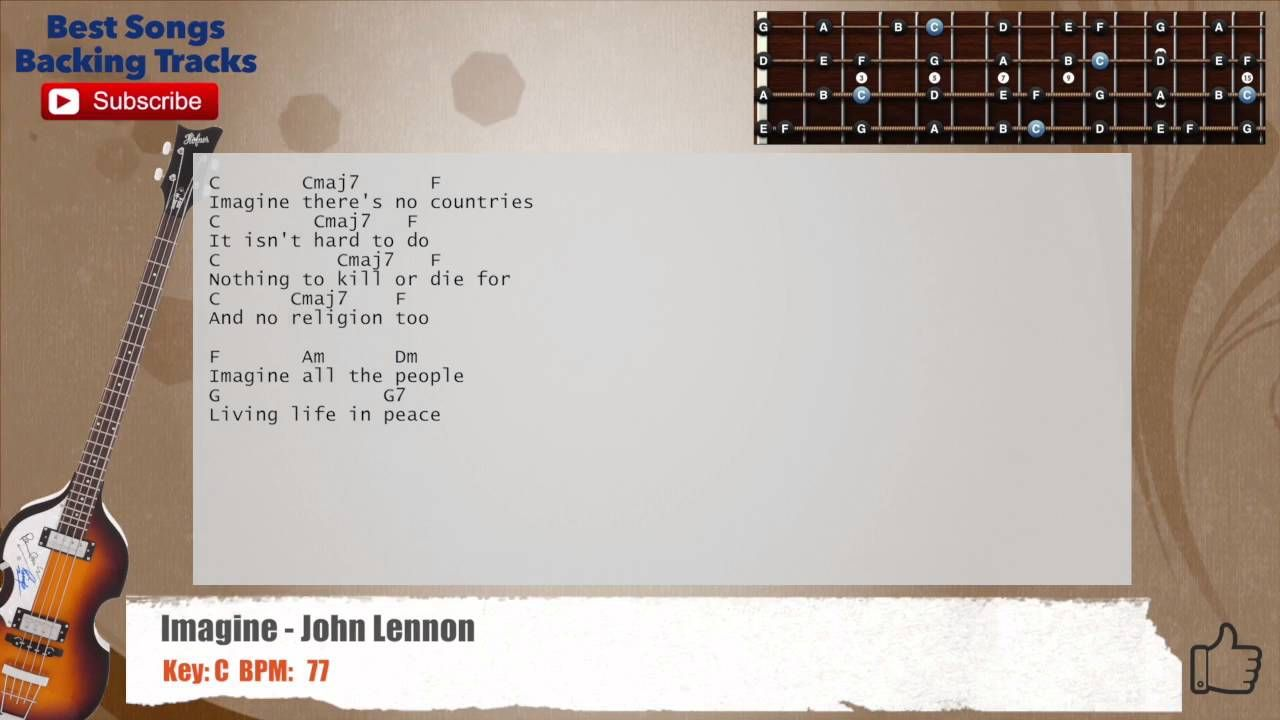 Imagine - John Lennon Bass Backing Track with chords and