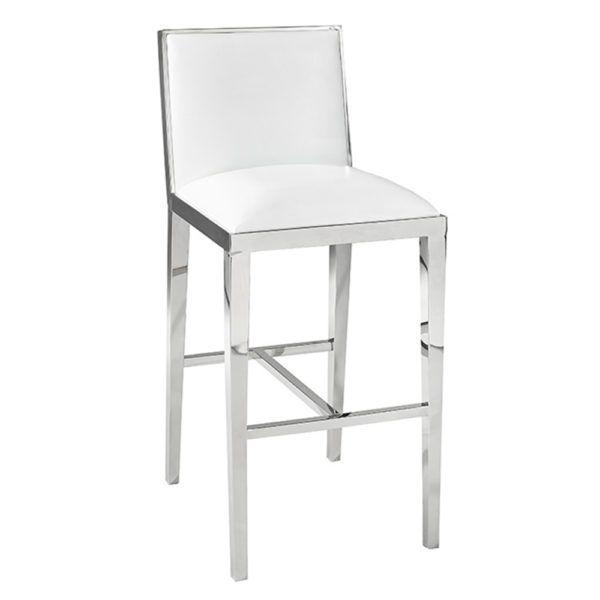 Emario White Leatherette Bar Chair Bar Stools Furniture Chrome