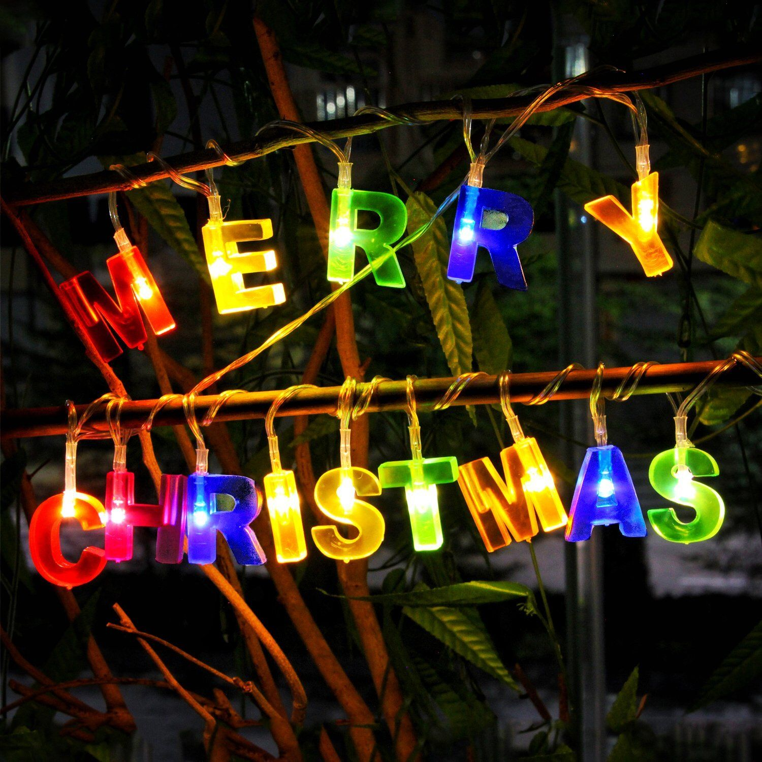 Merry Christmas Lights 14 LED Letter Shaped Battery Operated