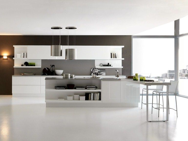 CUCINA LACCATA LINEARE CON ISOLA CITY BY FEBAL | DESIGN ALFREDO ...