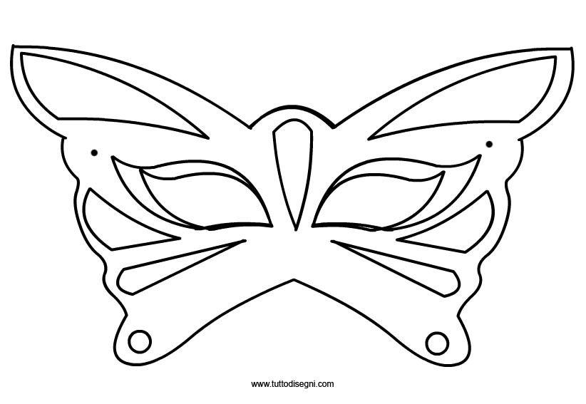 Farfalla maschera di carnevale da colorare tuttodisegni for Immagini maschere carnevale da colorare