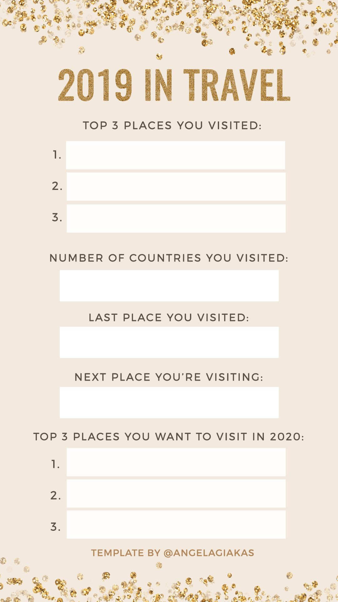 New Years Instagram story template 2019 2020 travel (With