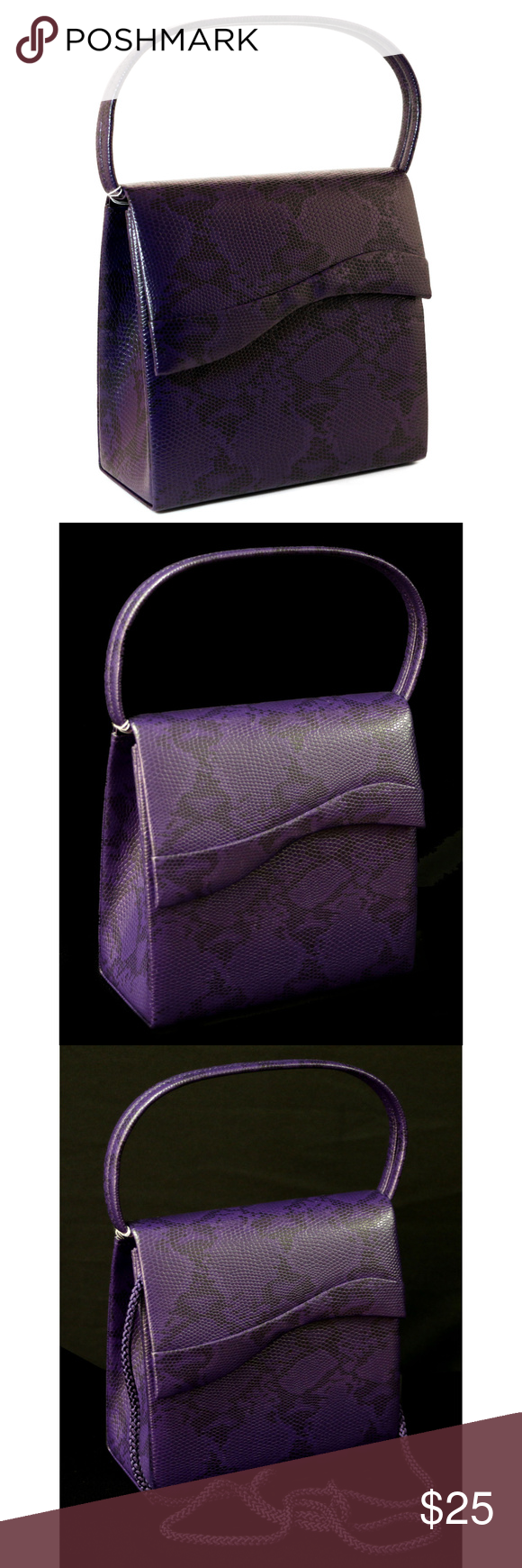 Purple & Black Snake-Skin Print Hand Bag PS489PPP Purple & Black Snake-Skin Print Fashion Hand Bag Clutch Purse With Magnetic Snap Closure PS489PPP This elegant handbag is made of premium faux snakeskin leather and lined with polyester cloth, wear resistant and durable Purse dimensions (W x H):7.5 x 6 inches, a perfect size for you to carry comfortably Embossed snakeskin pattern, faux pvc leather - stylish sexy design that attracts people's attention whenever holding it Braidedshoulder strap & carry straps, can be used as a tote handbag Mi Amore Bags Clutches & Wristlets