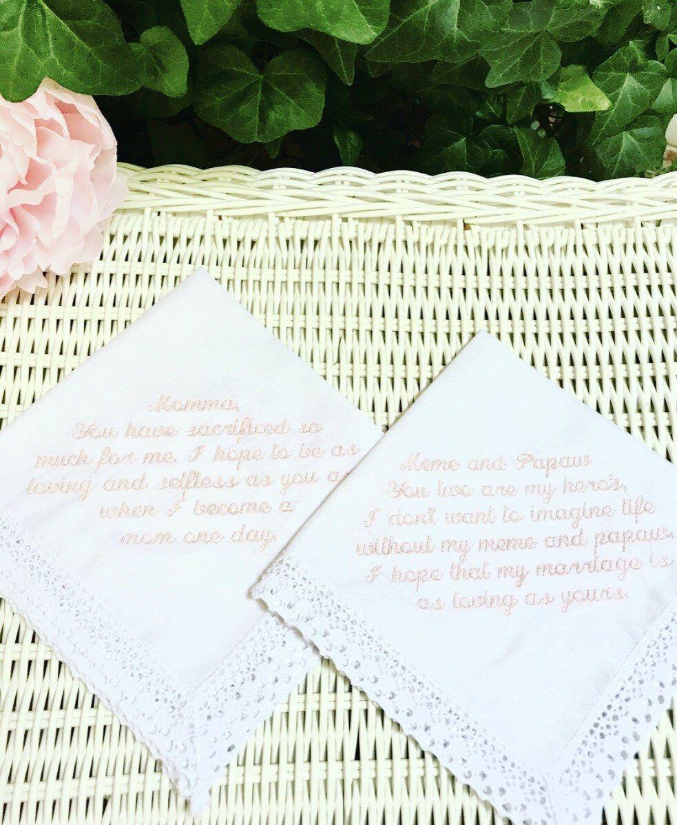 Custom Embroidery Wedding Handkerchief,Bride's Words On