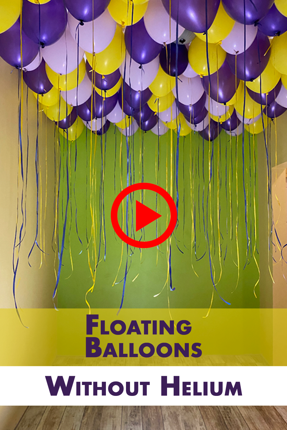 Video Floating Balloon Without Helium Ceiling Decoration Idea Diy How To In 2020 Floating Balloons Hanging Balloons Balloon Ceiling Decorations