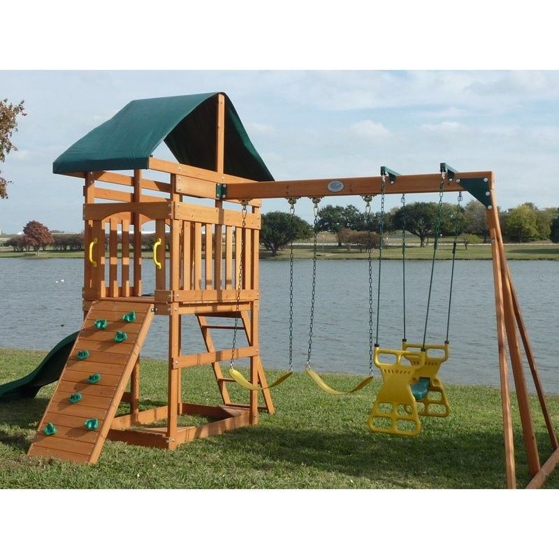 Kids Outdoor Swing Set Wood Canopy 2 Swings Glider Rock Wall Wave
