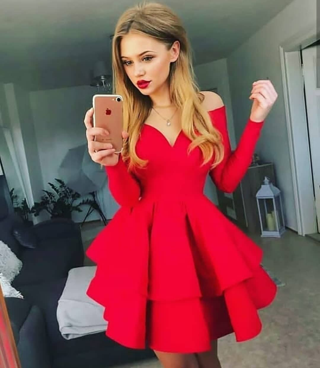 Red Homecoming Dress Long Sleeve Homecoming Dress Ruffles Homecoming Dress V Neck Hom Red Homecoming Dresses Party Dresses With Sleeves Mini Homecoming Dresses [ 1243 x 1080 Pixel ]